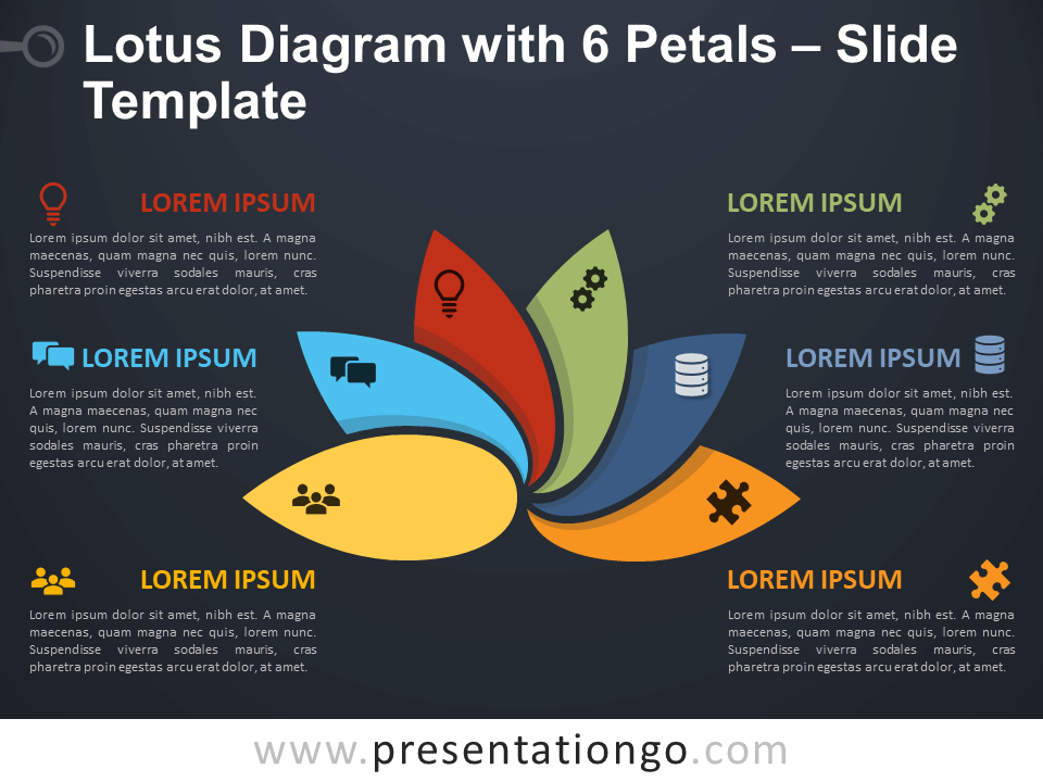 Free Lotus Diagram with 6 Petals Infographic for PowerPoint