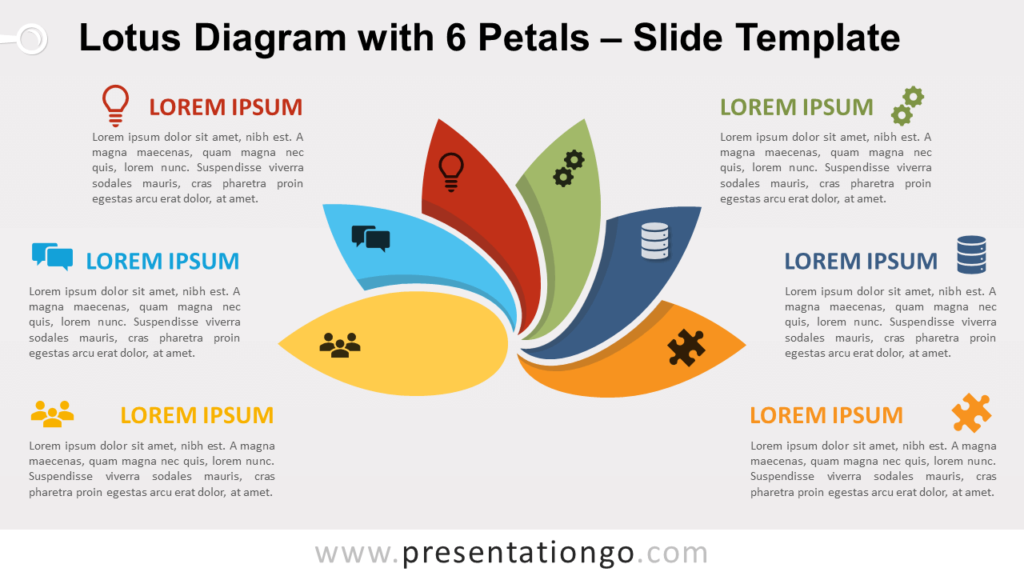 Free Lotus Diagram with 6 Petals for PowerPoint and Google Slides