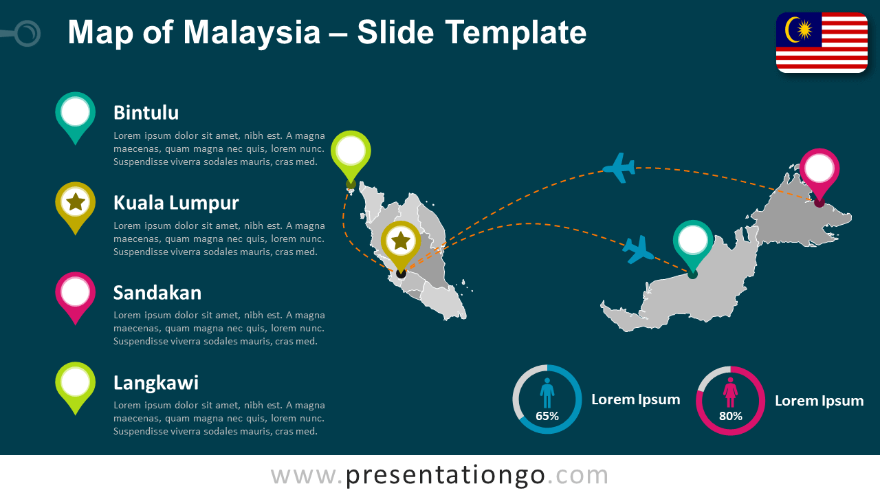 Free Malaysia Map Template for PowerPoint and Google Slides