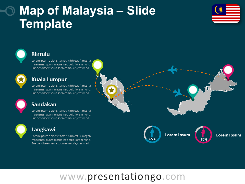 Free Malaysia Map Template for PowerPoint