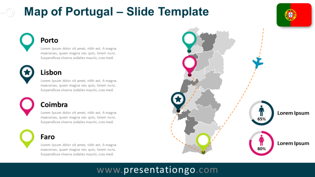 Free Map of Portugal for PowerPoint and Google Slides