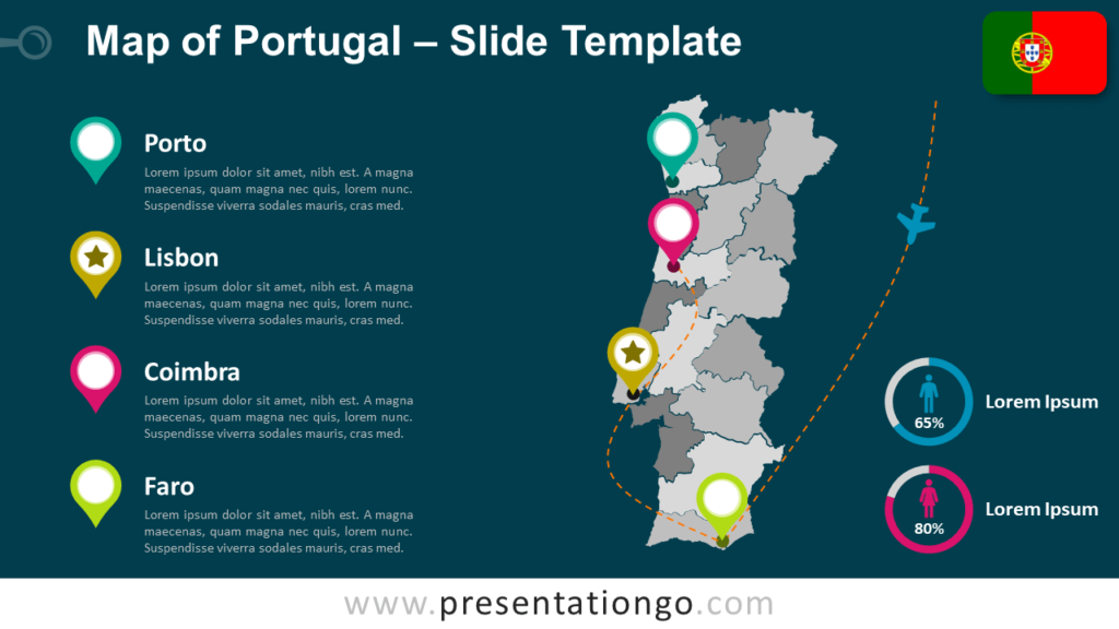 Free Map Template of Portugal for PowerPoint and Google Slides
