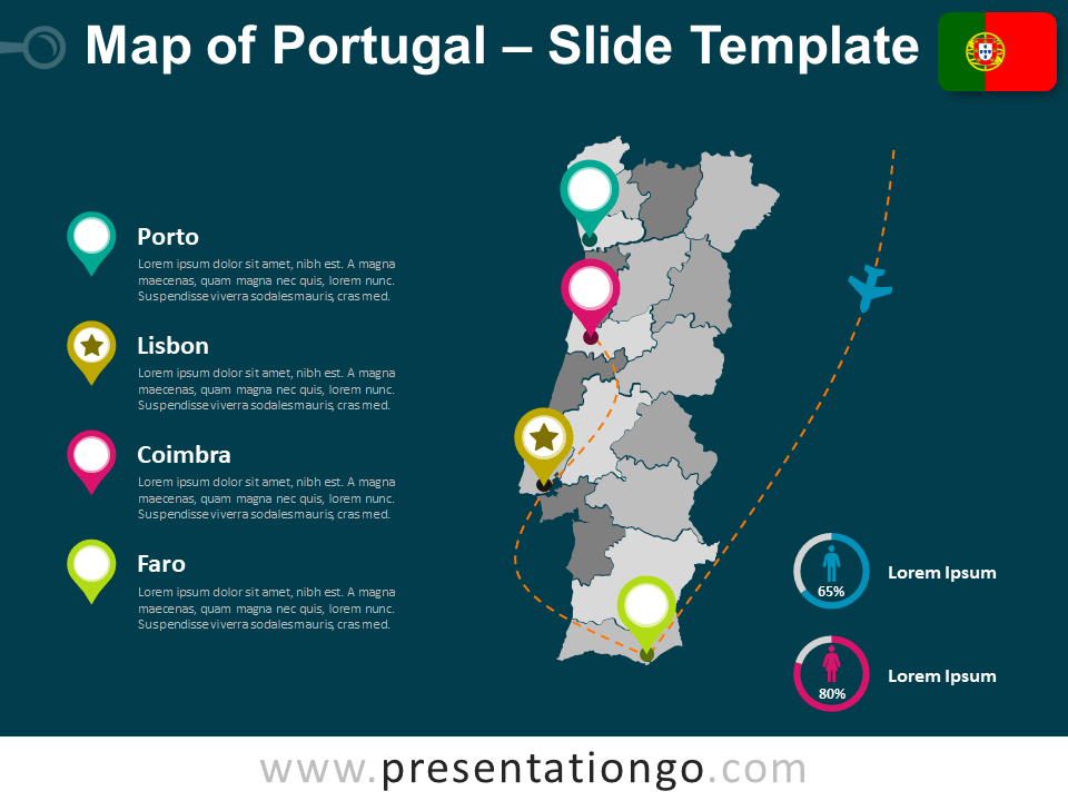 Free Map Template of Portugal for PowerPoint