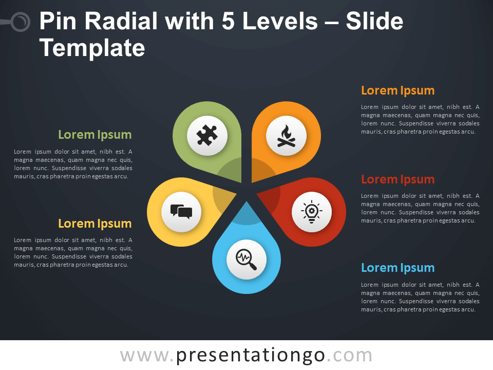 Free Pin Radial with 5 Levels Diagram for PowerPoint