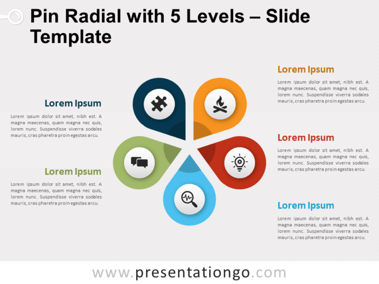 Free Pin Radial with 5 Levels for PowerPoint