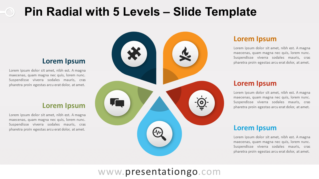 Free Pin Radial with 5 Levels for PowerPoint and Google Slides