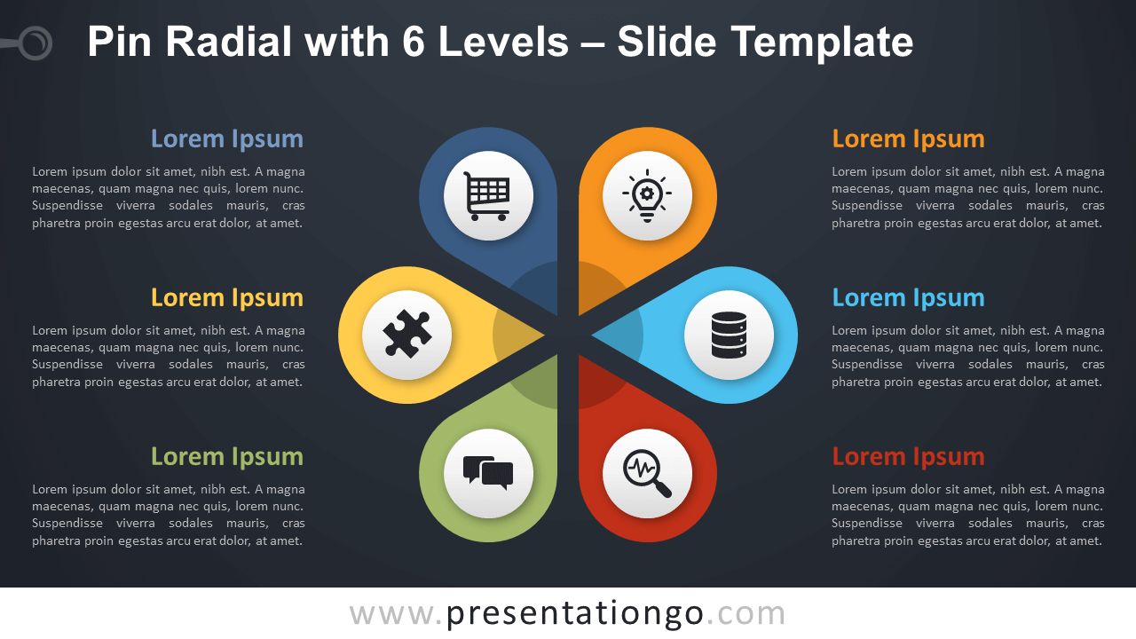 Free Pin Radial with 6 Levels Diagram for PowerPoint and Google Slides