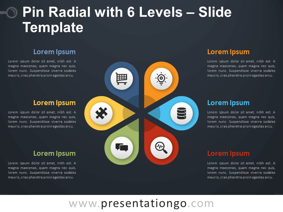 Free Pin Radial with 6 Levels Diagram for PowerPoint