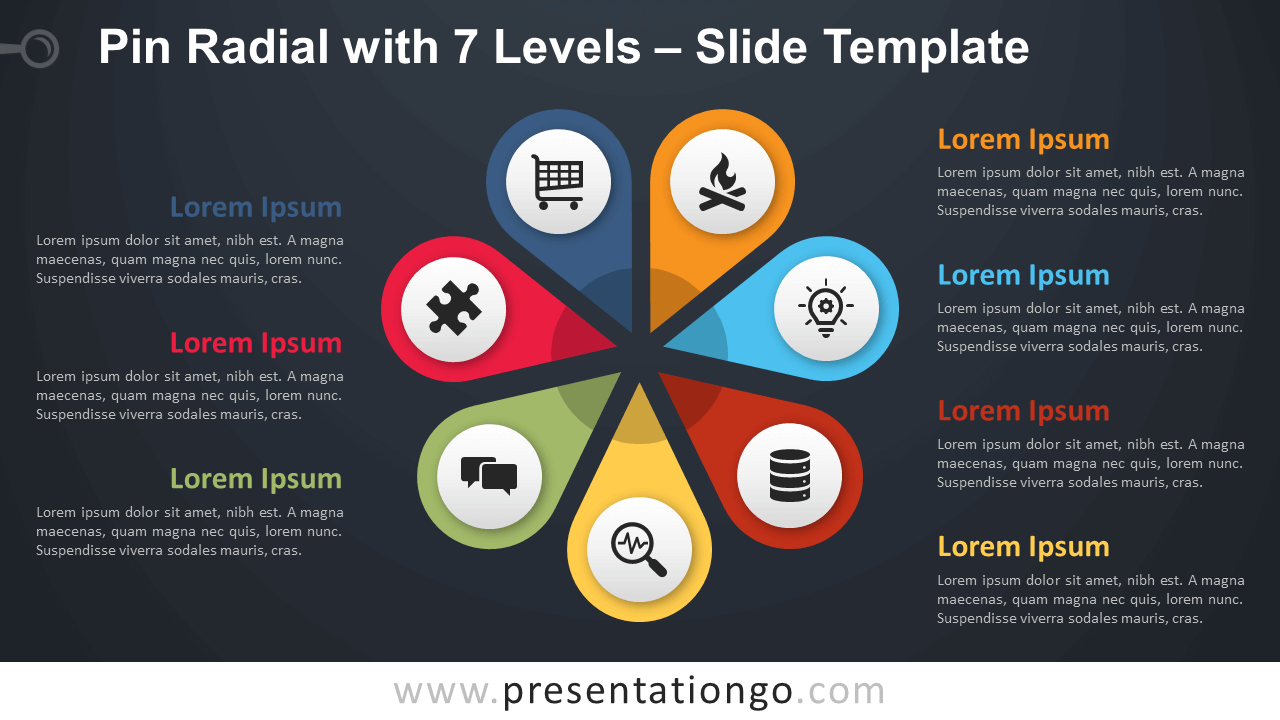 Free Pin Radial with 7 Levels Diagram for PowerPoint and Google Slides
