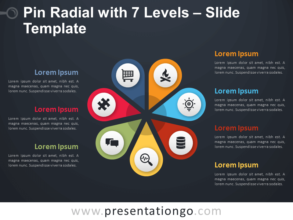 Free Pin Radial with 7 Levels Diagram for PowerPoint