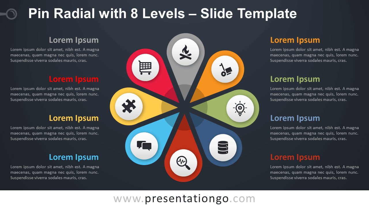 Free Pin Radial with 8 Levels Diagram for PowerPoint and Google Slides
