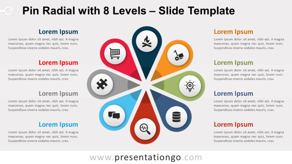 Free Pin Radial 8 Levels for PowerPoint and Google Slides