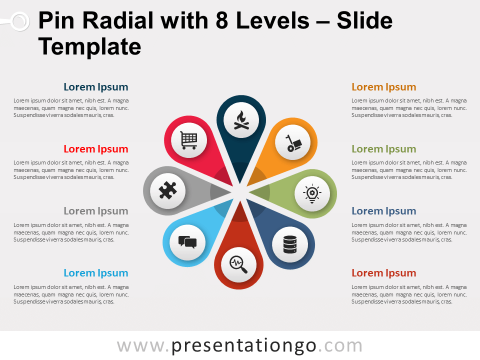 Free Pin Radial with 8 Levels for PowerPoint