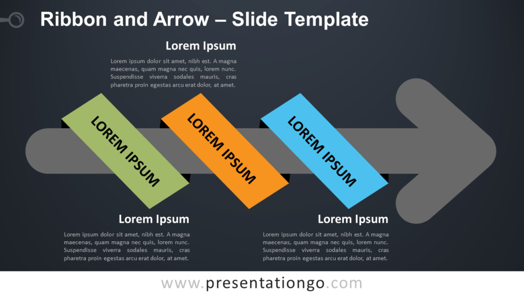 Free Ribbon Arrow Infographic for PowerPoint and Google Slides