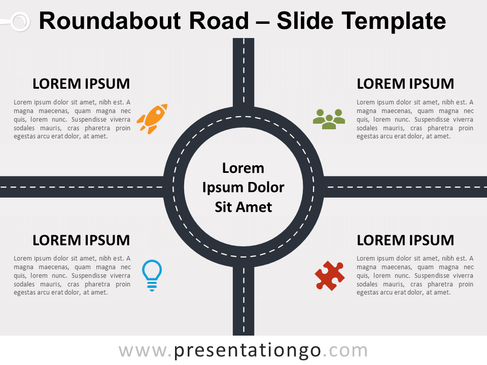 Free Roundabout Road for PowerPoint