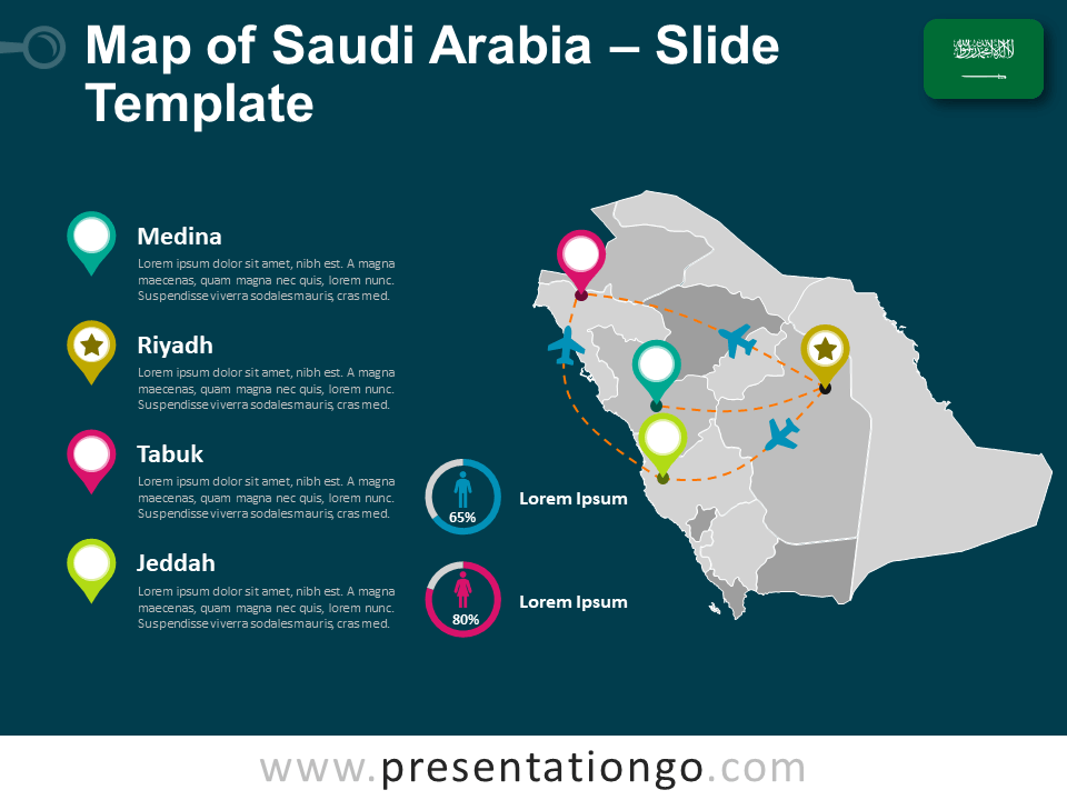 Free Saudi Arabia Map Template for PowerPoint