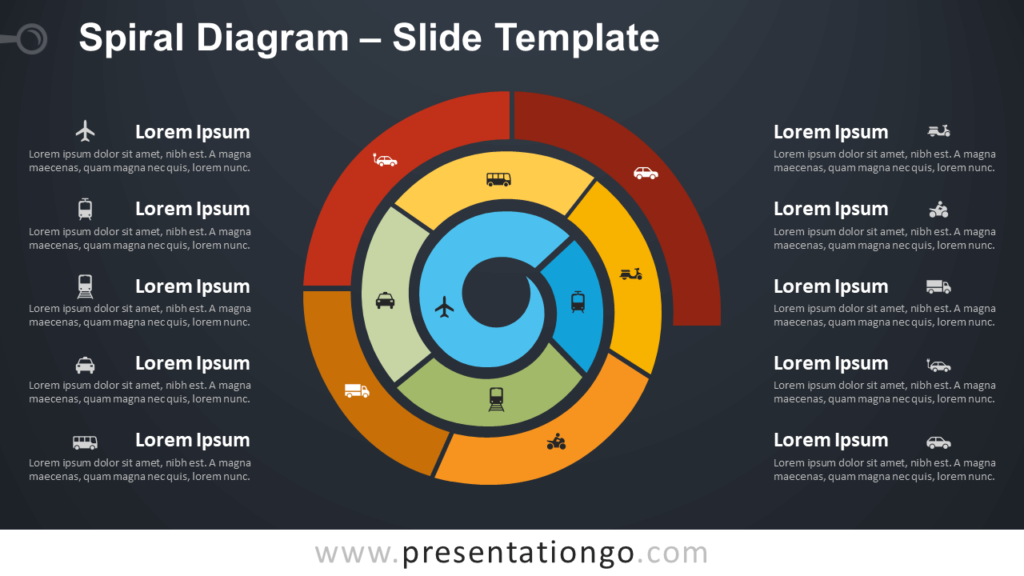 Free Spiral Diagram Infographic for PowerPoint and Google Slides