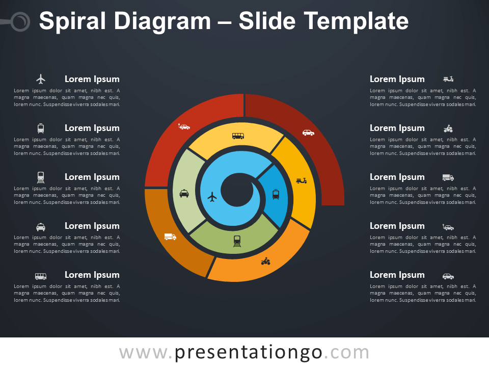 Free Spiral Diagram Infographic for PowerPoint