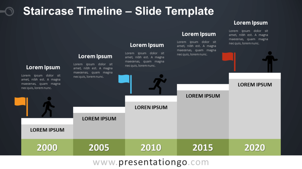 Free Staircase Timeline Infographic for PowerPoint and Google Slides