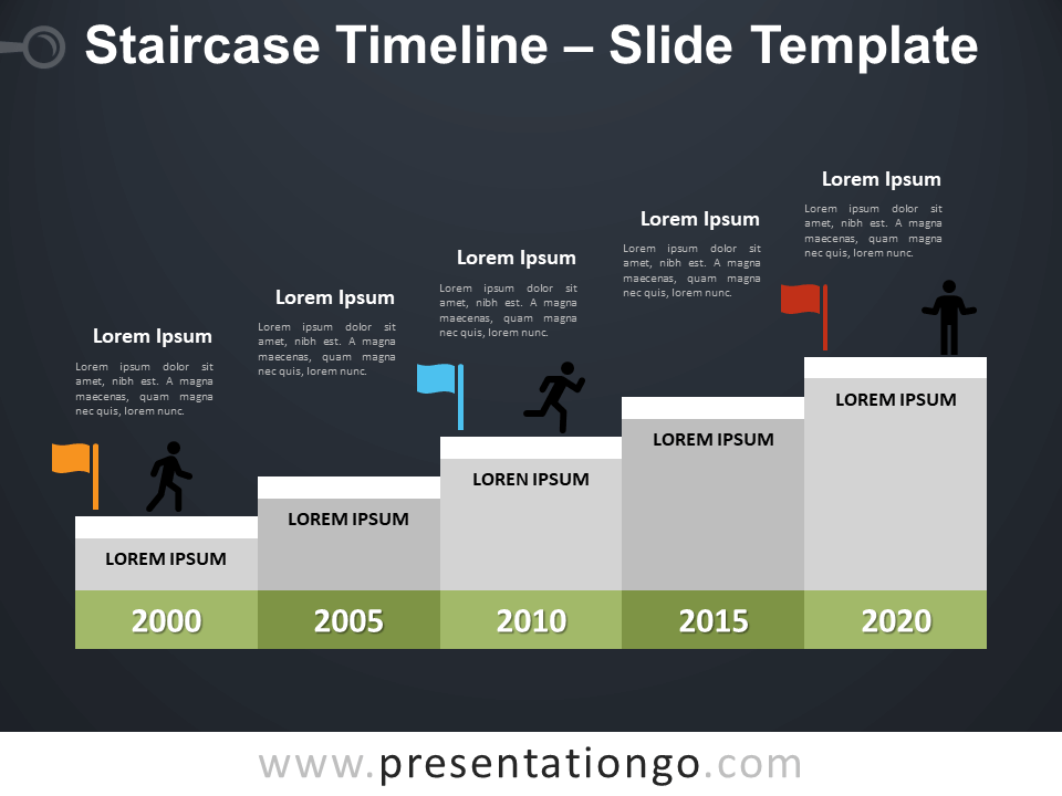 Free Staircase Timeline Infographic for PowerPoint