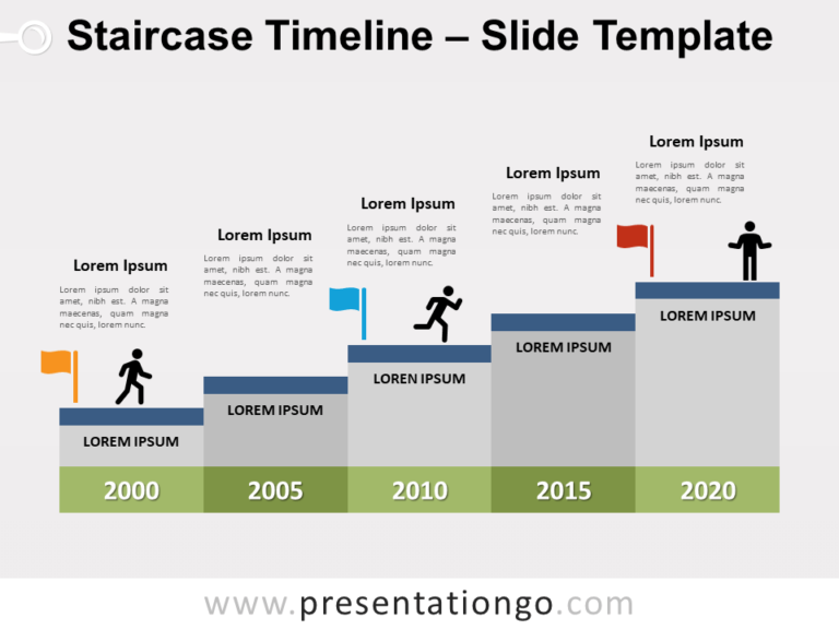 Free Staircase Timeline for PowerPoint