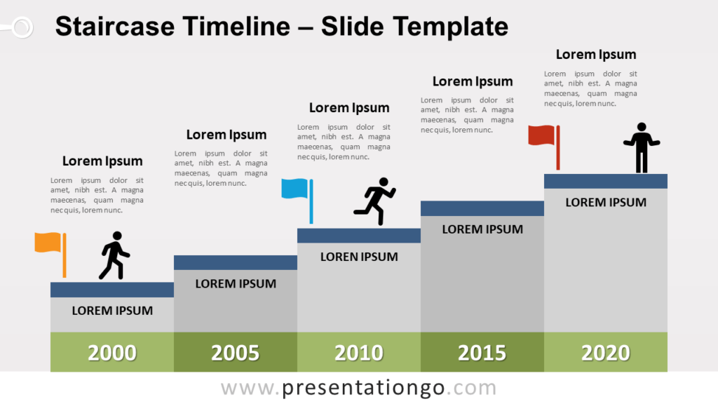Free Staircase Timeline for PowerPoint and Google Slides