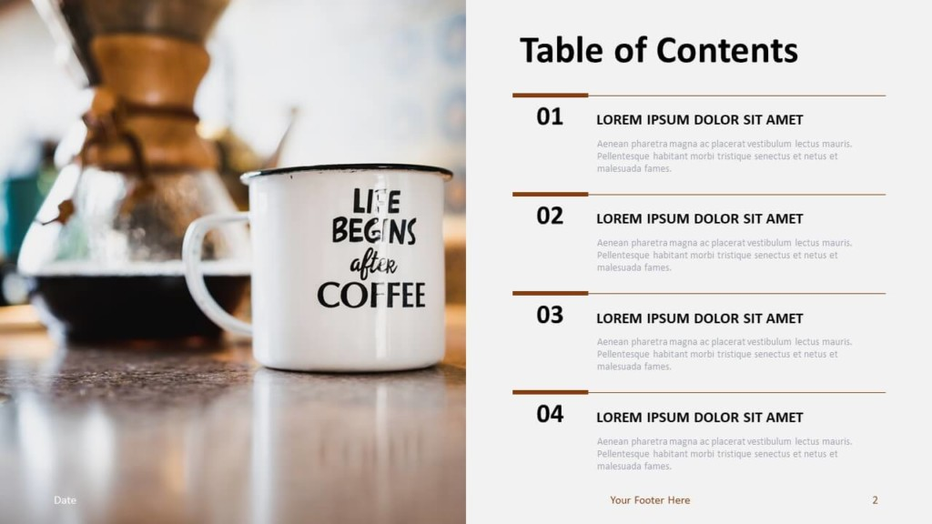 Free Table Contents Template for PowerPoint and Google Slides