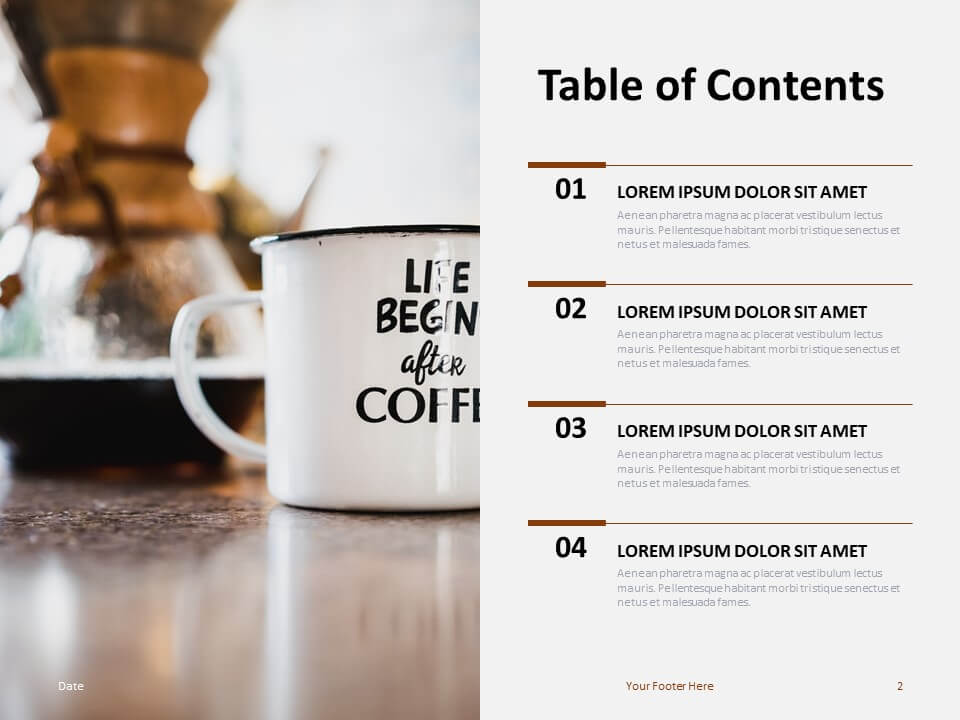 Free Table Contents Template for PowerPoint
