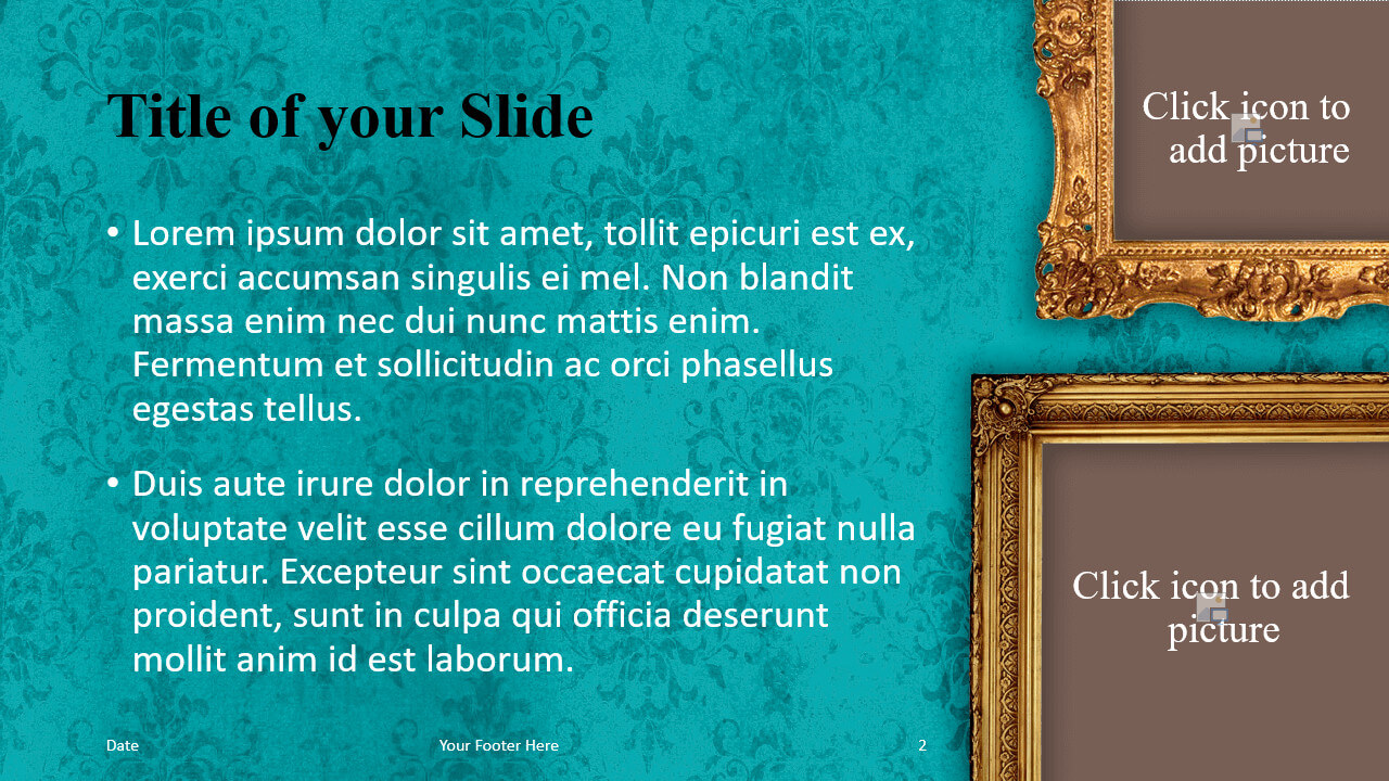 Free Renaissance Frames Template for Google Slides – Title and Content Slide (Variant 1)