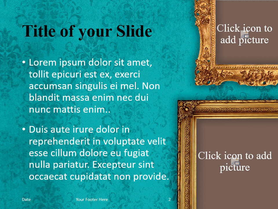 Free Renaissance Frames Template for PowerPoint – Title and Content Slide (Variant 1)