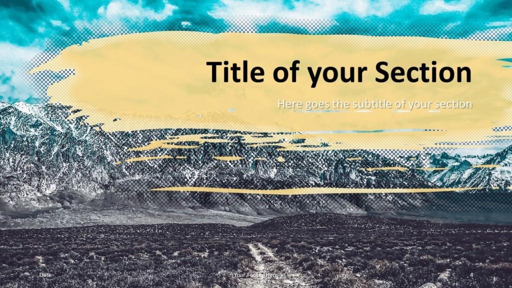 Free Retro Pop Mountains Template for Google Slides – Section Slide (Variant 1)