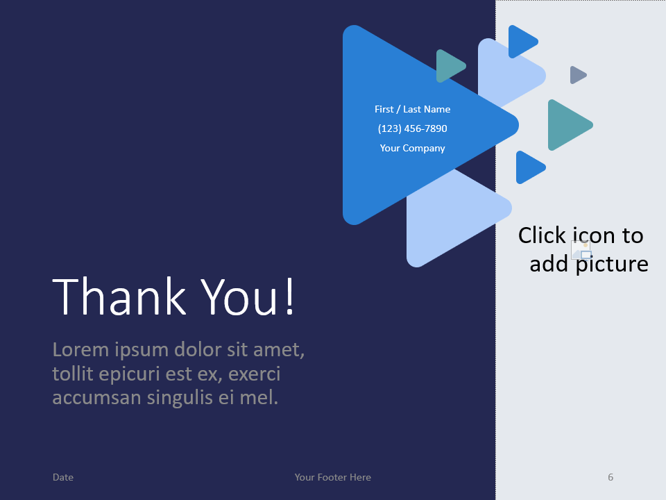 Free Triangles Template for PowerPoint - Closing / Thank you