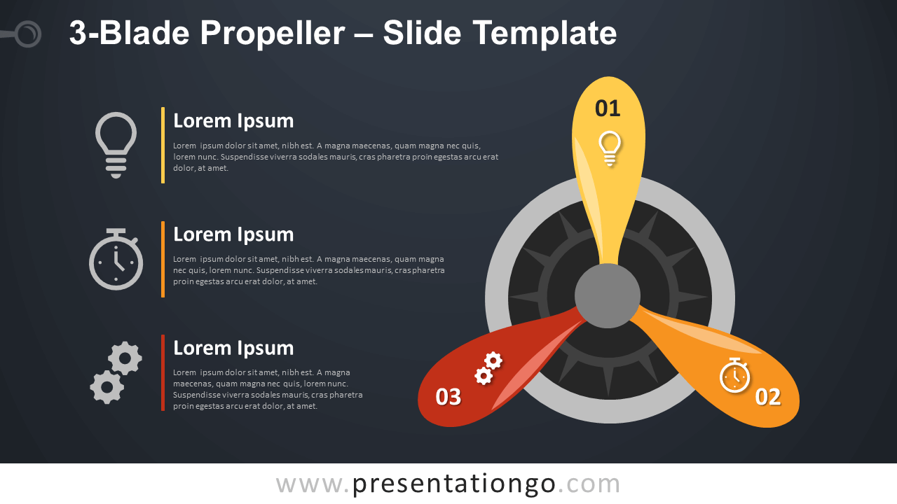 Free 3-Blade Propeller Infographic for PowerPoint and Google Slides