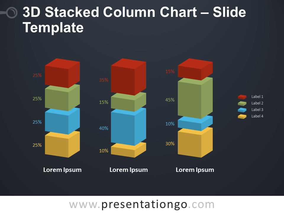 Free 3D Stacked Column Chart Diagram for PowerPoint
