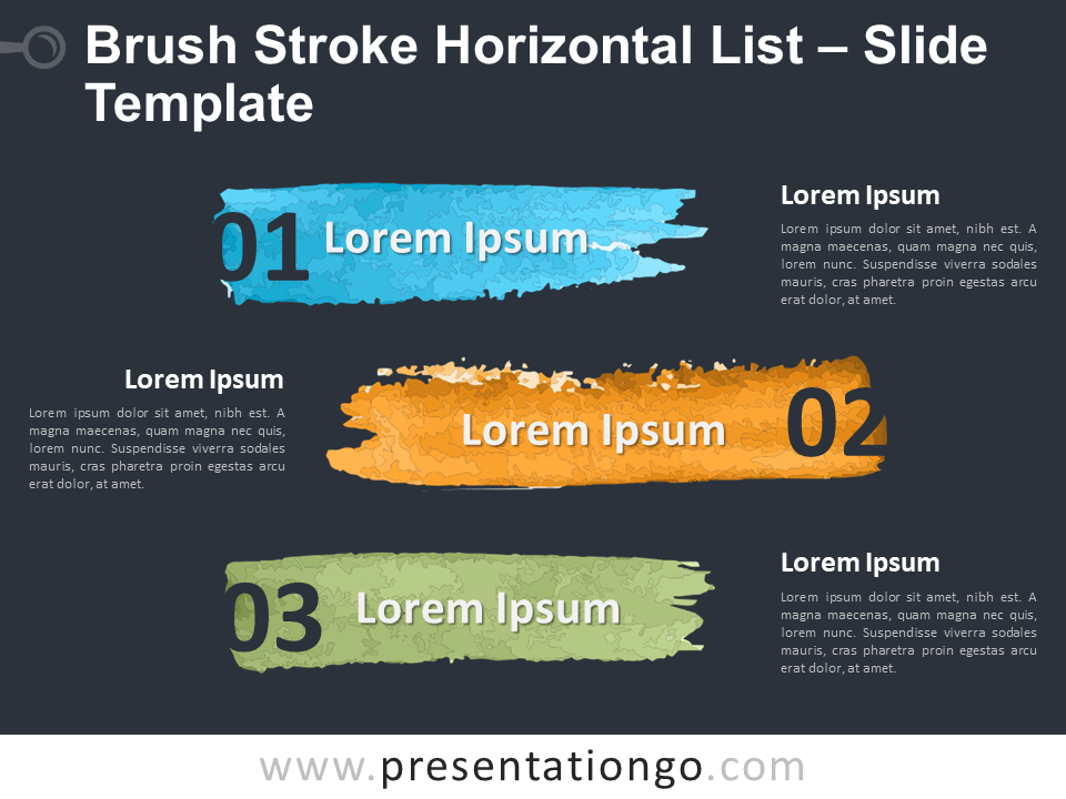 Free Brush Stroke Horizontal List Table for PowerPoint