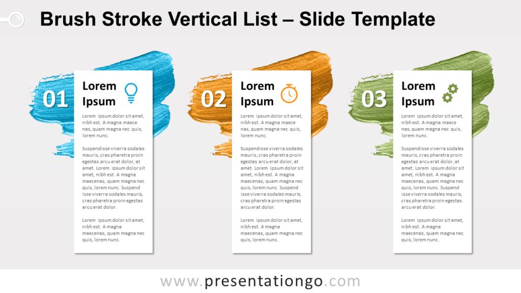 Free Brush Stroke Vertical List for PowerPoint Google Slides