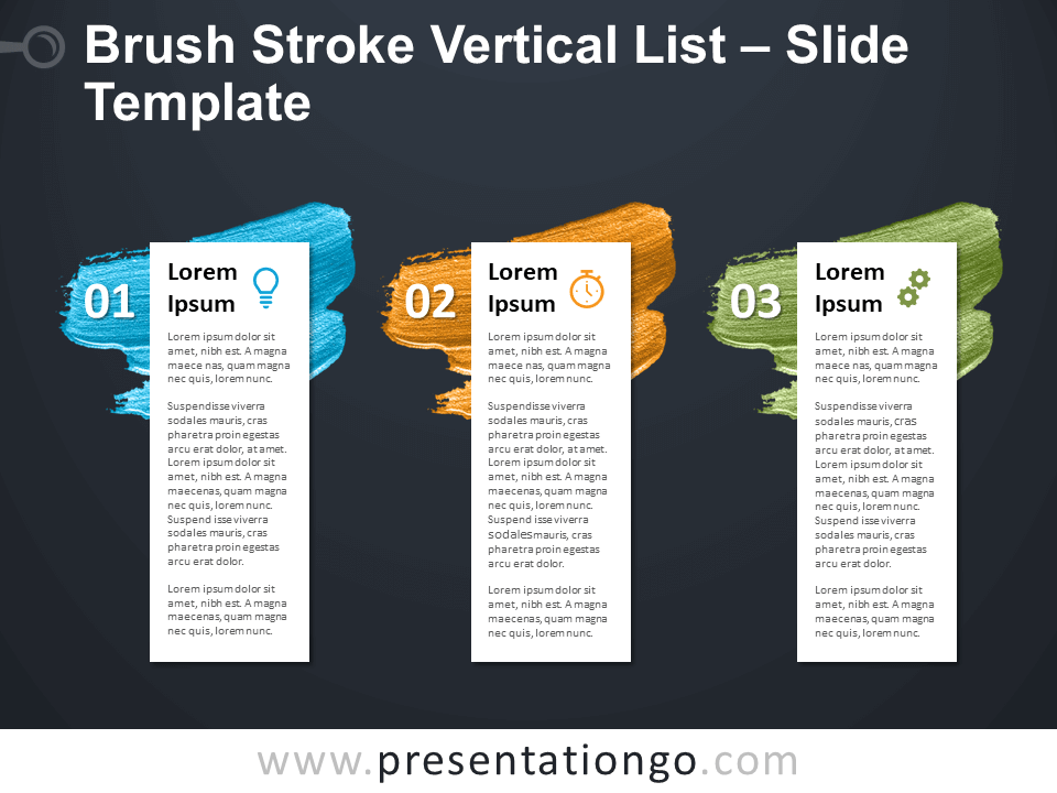 Free Brush Stroke Vertical List Tables for PowerPoint