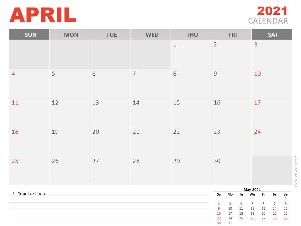 April 2021 Calendar For Powerpoint And Google Slides
