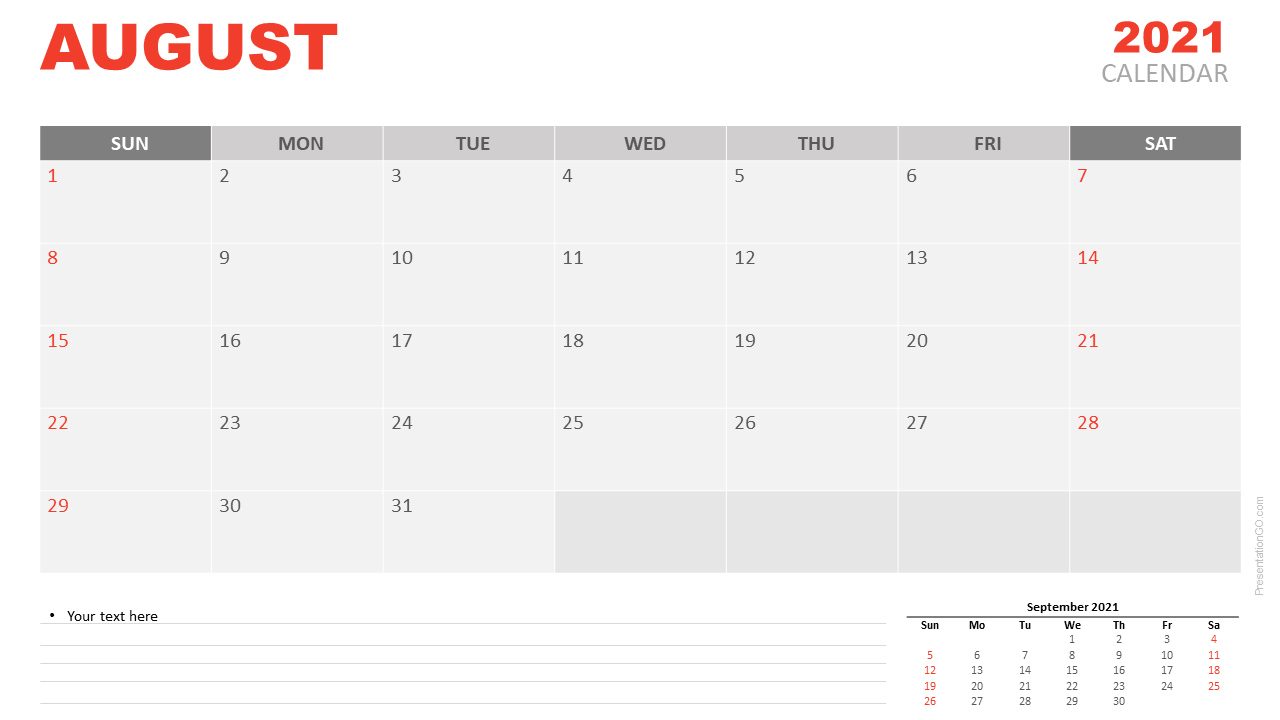 Free Calendar 2021 August Planning for PowerPoint and Google Slides