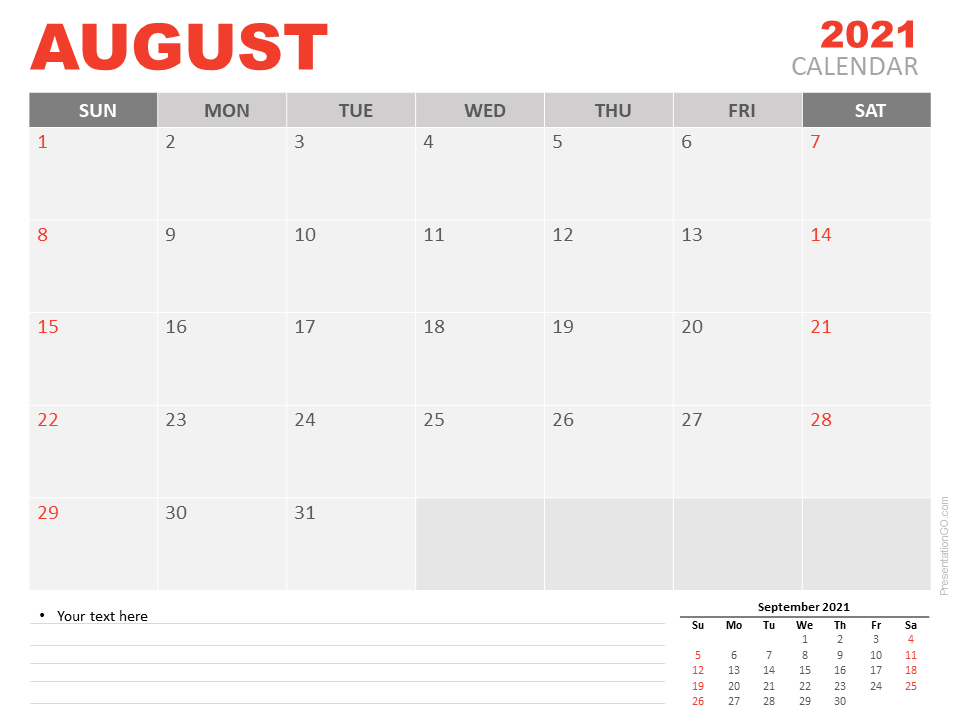 Free Calendar 2021 August Planning for PowerPoint