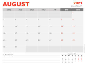 Free Calendar 2021 August for PowerPoint