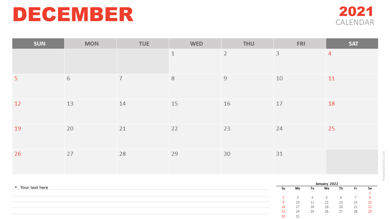 Free Calendar 2021 December Planning for PowerPoint and Google Slides