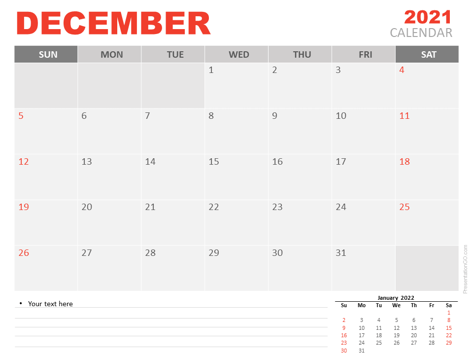 Free Calendar 2021 December Planning for PowerPoint