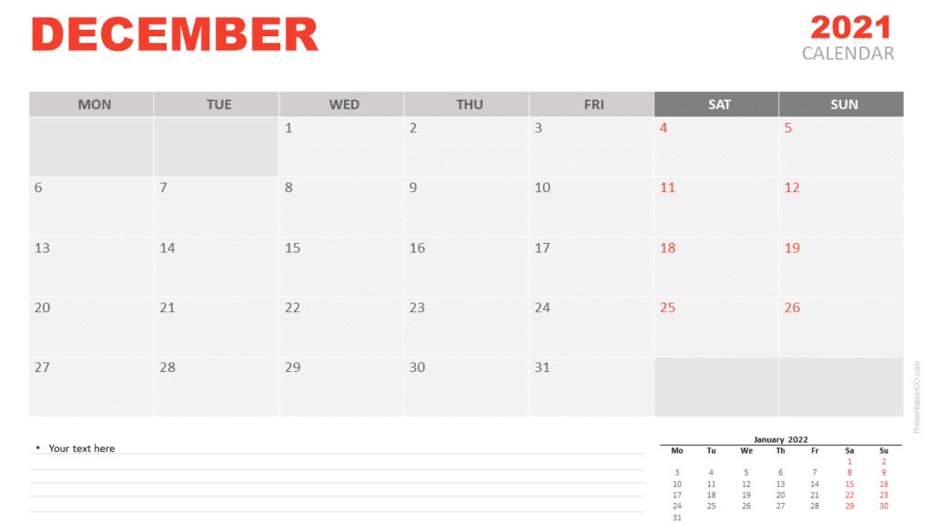 Free Calendar 2021 December for PowerPoint and Google Slides