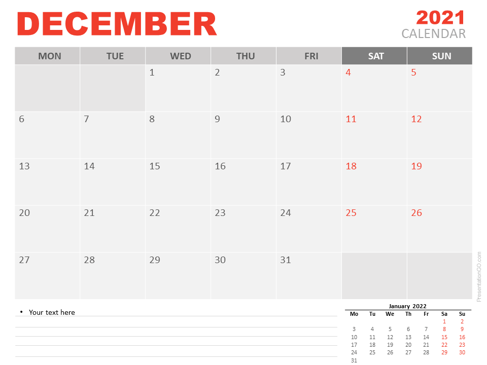 Free Calendar 2021 December for PowerPoint