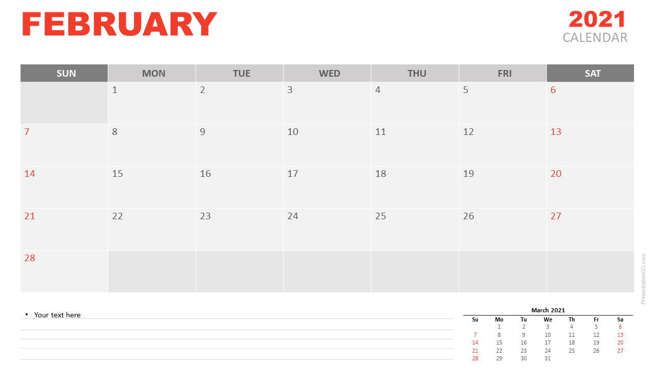 February 2021 Calendar for PowerPoint and Google Slides