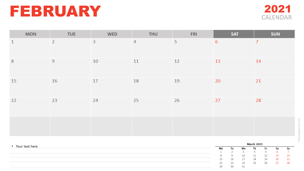 Free Calendar 2021 February for PowerPoint and Google Slides