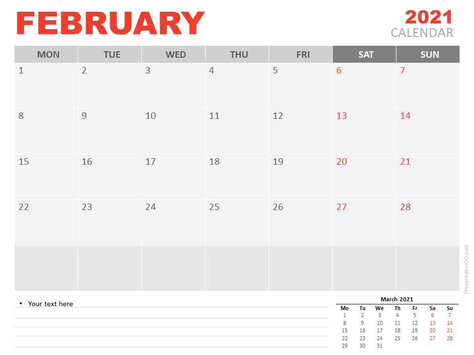 Free Calendar 2021 February for PowerPoint