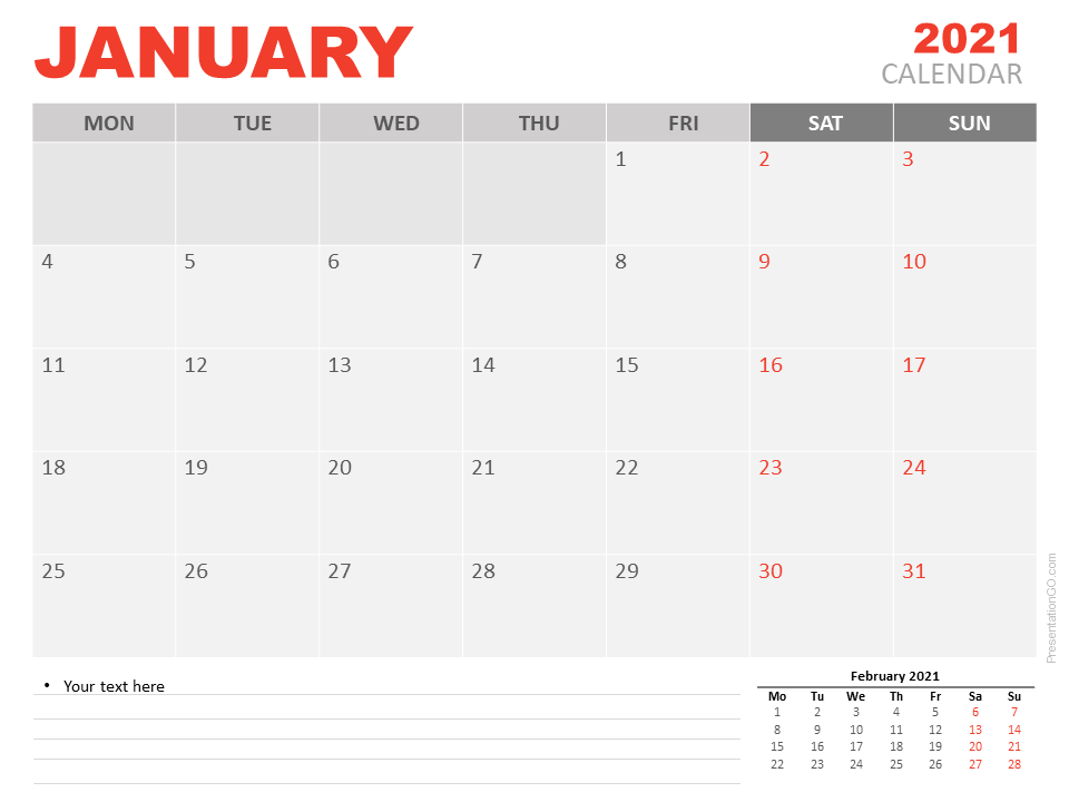Free Calendar 2021 January for PowerPoint
