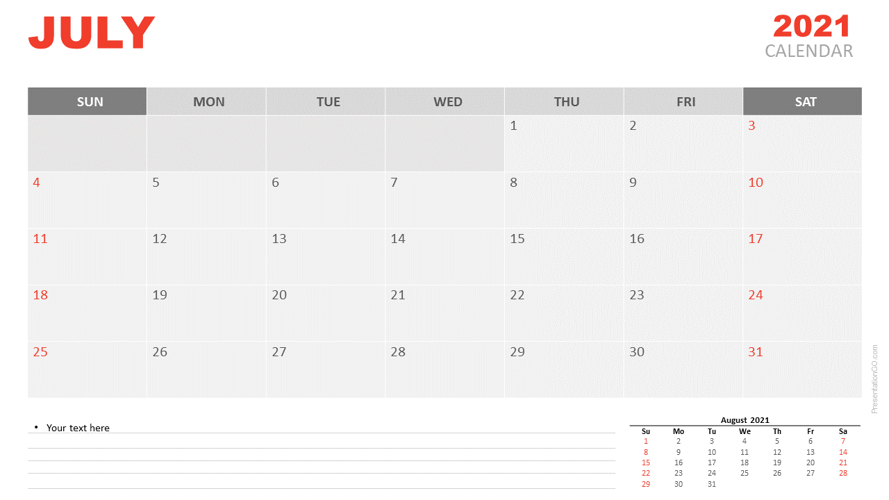 Free Calendar 2021 July Planning for PowerPoint and Google Slides